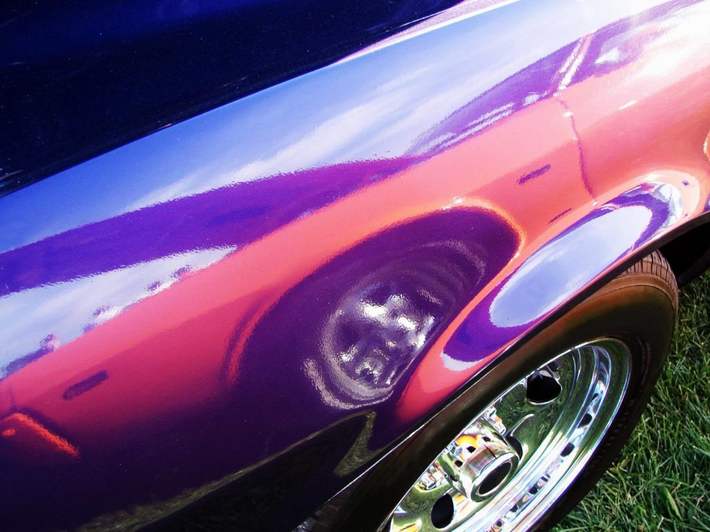 a shiny purple car