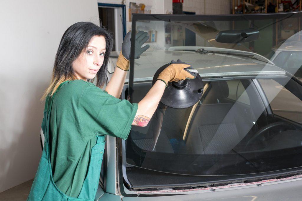 lady holding a windshield